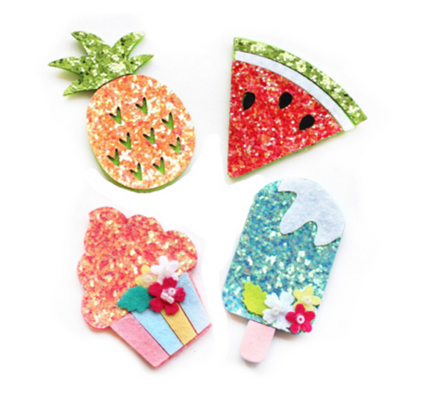 Padded Felt Watermelon, Pineapple, Popsicle and Cupcake Appliques