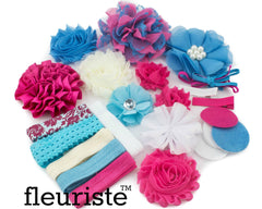 Baby Shower Headband DIY Kit 106 Turquoise/Hot Pink