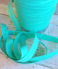 "Solid 5/8"" Foldover Elastic by the Yard-Aqua Green"