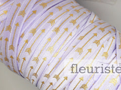 "Lavender Gold Arrow Printed Fold Over Elastic-5/8"" Width"