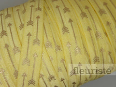 "Yellow Gold Arrow Printed Fold Over Elastic-5/8"" Width"