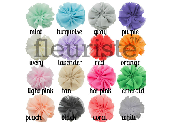 Ballerina Chiffon Flowers 2.5 inch - Pick Your Color