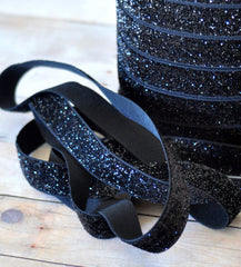 Regular Glitter Elastics by the Yard-Midnight Black
