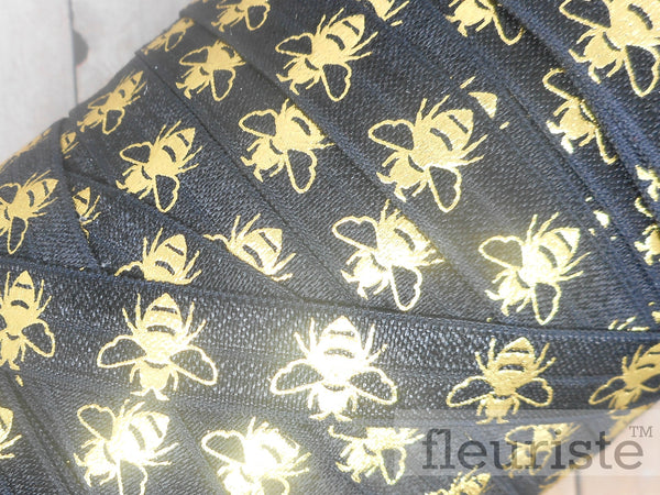 "Fold Over Elastic-5/8"" Width- Gold Bee on Black"