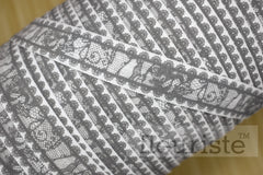"Gray Lace Look Printed Fold Over Elastic-5/8"" Width"