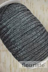 Foldover Elastic by the Yard- Shiny Sparkly Black/Silver Elastic