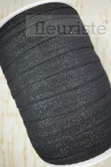 Foldover Elastic by the Yard- Shiny Sparkly Black Elastic