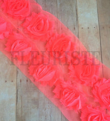 Solid Shabby Rose Trim-Bright Coral
