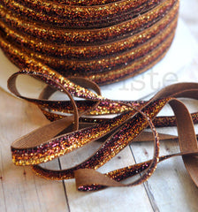 Ombre Glitter Elastic by the Yard-Chocolate Ombre