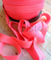 "Solid 5/8"" Foldover Elastic by the Yard-Bubblegum"