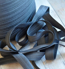 "Solid 5/8"" Foldover Elastic by the Yard-Charcoal"