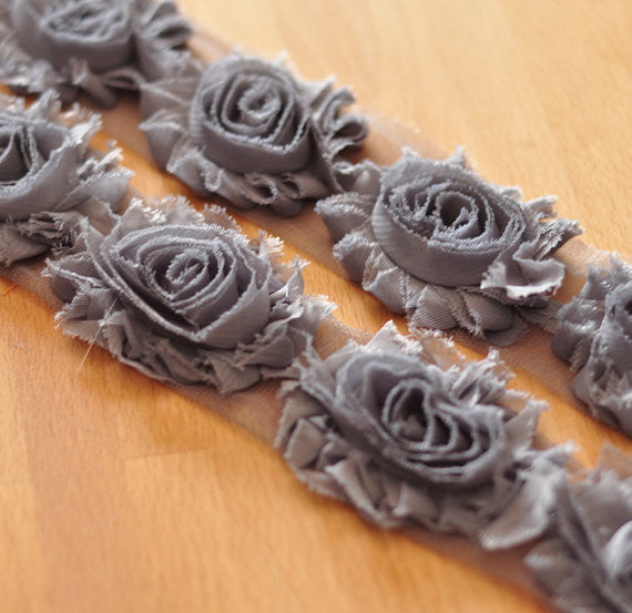 Solid Shabby Rose Trim-Charcoal