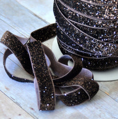 Regular Glitter Elastics by the Yard-Chocolate