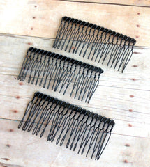 80mm Black Metal Hair Combs-Single Comb
