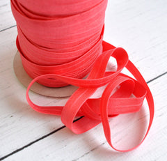 "Solid 5/8"" Foldover Elastic by the Yard-Coral"