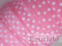 "Printed Fold Over Elastic-5/8"" Width Coral Polka Dots"
