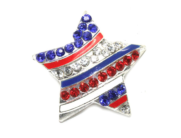 4th of july star Rhinestone Button