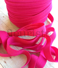 "Solid 5/8"" Foldover Elastic by the Yard-Dark Hot Pink"