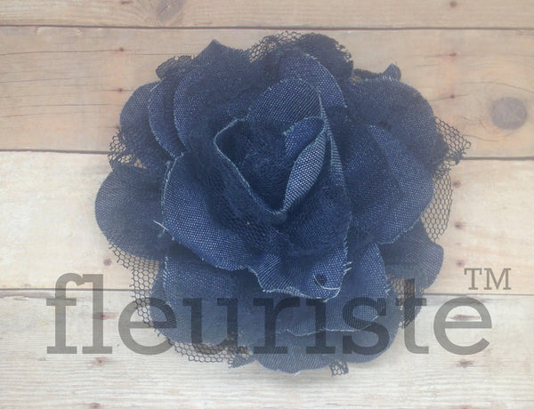 Denim Lace Flower - 3.75""