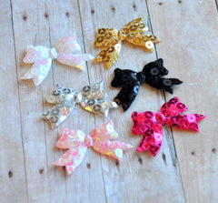 Padded Sequin Bow Appliques-Pick Your Color