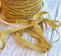 Regular Glitter Elastics by the Yard-Gold