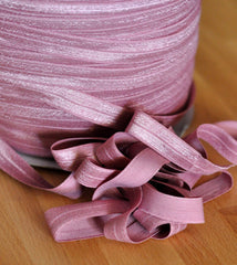 "Solid 5/8"" Foldover Elastic by the Yard-Dusty Pink"