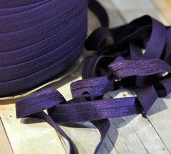 "Solid 5/8"" Foldover Elastic by the Yard-Eggplant"