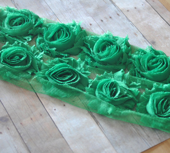 Solid Shabby Rose Trim-Emerald