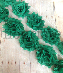 Petite Solid Shabby Rose Trim-Evergreen