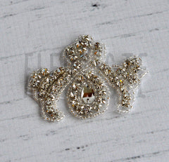Beaded Bridal Applique-Single Applique-Fleur De Lis