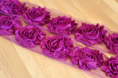 Solid Shabby Rose Trim-Fuchsia Plum