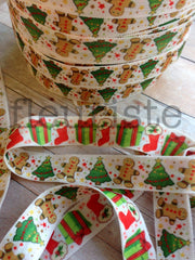 "5/8"" REVERSIBLE Foldover Elastic by the Yard-Presents and Gingerbread Men"