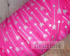 "Hot Pink Silver Arrow Printed Fold Over Elastic-5/8"" Width"
