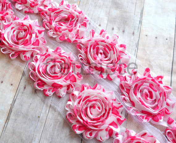 Patterned Shabby Trim-Hot Pink Hearts