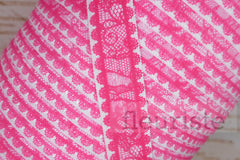 "Hot Pink Lace Look Printed Fold Over Elastic-5/8"" Width"