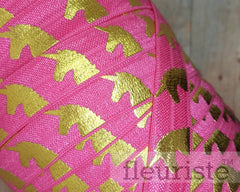 "Fold Over Elastic-5/8"" Width- Gold Unicorn on Hot Pink"