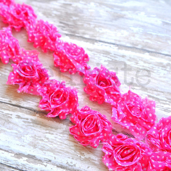 Petite Patterned Shabby Rose Trim-Hot Pink with White Dots