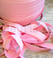 "Solid 5/8"" Foldover Elastic by the Yard-Ice Pink"