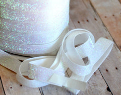Regular Glitter Elastics by the Yard-Iridescent White