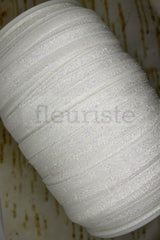 Foldover Elastic by the Yard- Shiny Sparkly Irridescent White Elastic