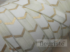 "White Gold Chunky Chevron Metallic Printed Fold Over Elastic-5/8"" Width"