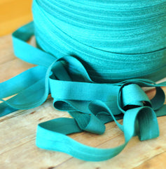 "Solid 5/8"" Foldover Elastic by the Yard-Dark Jade Teal"