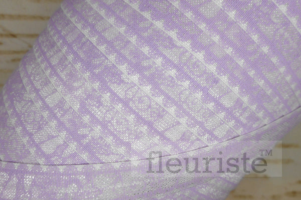 "Lavender Lace Look Printed Fold Over Elastic-5/8"" Width"