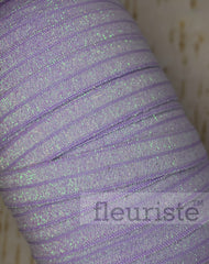 Foldover Elastic by the Yard- Shiny Sparkly Lilac Elastic