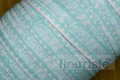 "Light Blue Lace Look Printed Fold Over Elastic-5/8"" Width"