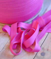 "Solid 5/8"" Foldover Elastic by the Yard-Light Fuchsia"