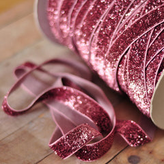 Regular Glitter Elastics by the Yard-Light Pink