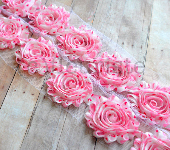 Patterned Shabby Trim-Light Pink Hearts