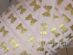 "Light Pink Gold Bow Printed Fold Over Elastic-5/8"" Width"