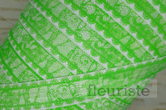 "Lime Green Lace Look Printed Fold Over Elastic-5/8"" Width"